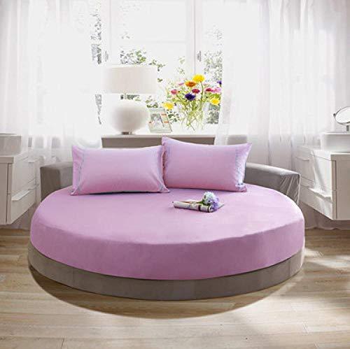 DSman Protector de colchón/Cubre colchón Acolchado, Ajustable y antiácaros. Sábana de Cama Redonda de algodón de Color puro-31_1.8m