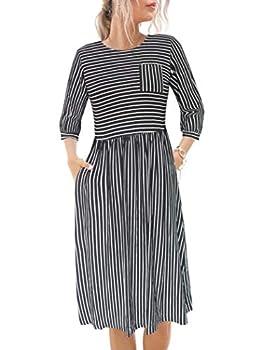 Alice & Elmer Women s Cotton Spring Fall Summer Casual Baloom 3/4 Sleeve Hight Waist Striped Midi Dress with Pockets  Black & White Small
