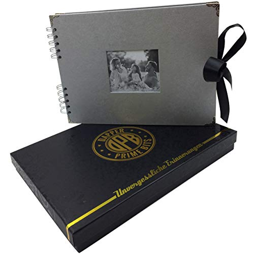 DPB Fotoalbum zum selbst gestalten | Inklusive Geschenkverpackung | Edles Scrapbook | 70 Seiten 31x21.5cm