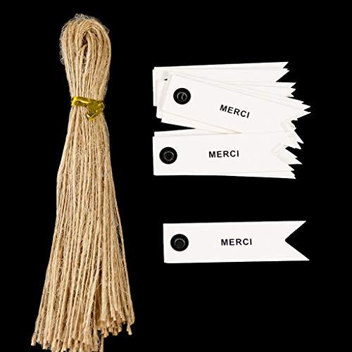 Buwei Faguo 50Pcs Hecho a Mano con Amor Etiquetas de Regalo Etiquetas de Regalo de Agradecimiento Kraft Etiquetas con Cuerda