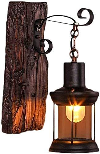 Vinteen Luces de Pared Tradicionales de Madera, rústico Loft Antiguo Art de Hierro Cristal Claro Linterna Sombra de la Pared de la Pared lintern e27 Edison Kerosene lámpara cabecera Dormitorio Garaje