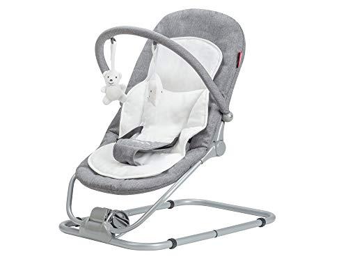 Moby-System - Tumbona para Bebé y Balancín 2 en 1 Lura hasta 9 kg - Hamaca Bebé portátil y plegable con arnés de seguridad ajustable - Colchón extraíble - Inclinación ajustable - Arco de 2 juguetes
