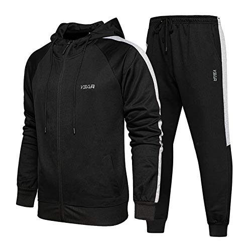 Mens Casual Tracksuit Long Sleeve Full-Zip Running Jogging Sports Jacket and Pants, Black-M