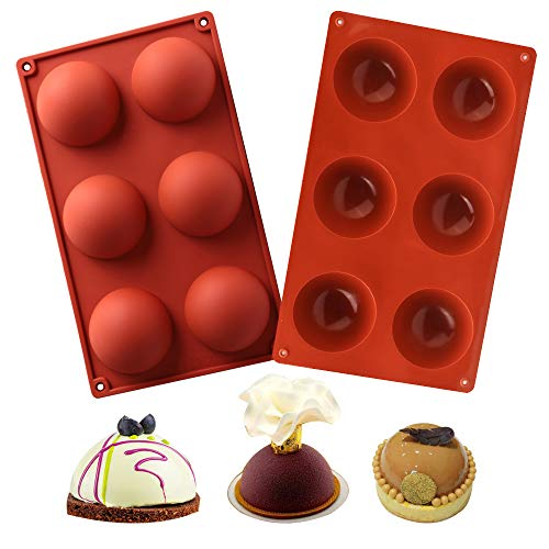 Pack 2 Premium Silicone Molds for Baking Hot Chocolate Bombs, Round Circle Sphere Mousse Cake Bread Mold, Food Grade Ice Cream Bomb Jelly Candy Dessert Soap Mold Set Kit with Big 2.8 inch Cavity
