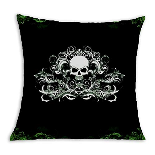 Flowers Skull Comfortable Pillowcase Home Decoration Garden Cushion Cover Square Inside and Outside