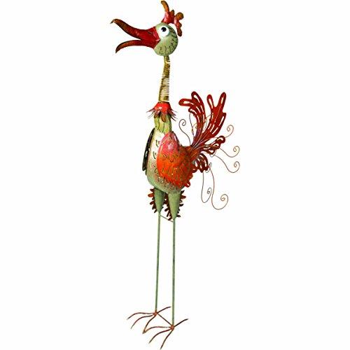 Wetterfester Metallvogel ''Mr. Schmidt'' für die Gartendekoration von Medusa | 156x15x70 cm | Farbe: creme | mit Flügelklappe für Teelicht oder Lichterkette