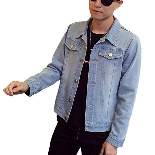 HX fashion Heren Basic Spijkerjas Lange Mouwen Comfortabele Maten Losse Casual Uitloper Revers Effen Kleur Spijkerjas Herenmode (Color : Hellblau, One Size : 3XL)