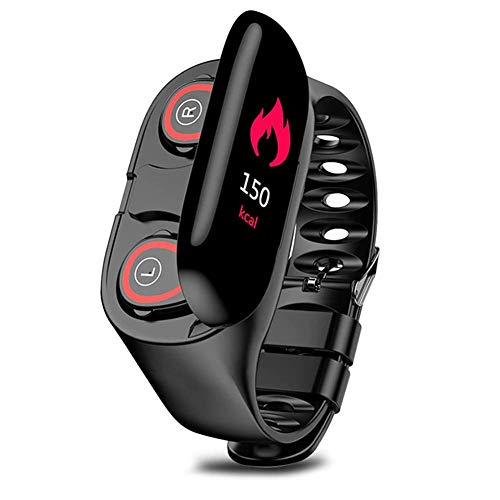 Phnirva 2-in-i Kopfhörer Smart Uhr Bluetooth Sports Armband Blutdruck Herzfrequenz Armband - Schwarz