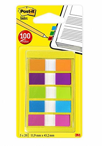 Post-it Haftstreifen Index Mini 683-5CB2 – Farbige Haftnotizen im extra kleinen Format 11,9 x 43,2 mm – 5 Haftstreifen Blöcke à 20 Blatt in 5 Farben im praktischen Etui