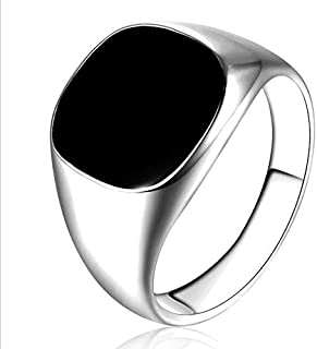 Polished Silver and Black Fashion Ring for Men US Size 10