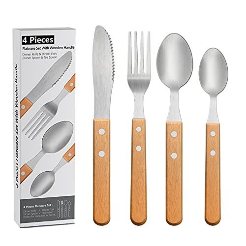 Juego de 4 cubiertos de madera con mango de madera, utensilios, cuchillo, tenedor, cuchara, vajilla