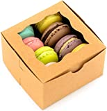 BakeLuv Brown Bakery Boxes with Window 4x4x2.5 inches | 50 Pack | Thick & Sturdy | Bakery Boxes, Mini Cake Boxes, Cookie Boxes, Dessert, Pastry, Small Treat Boxes | Macarons NOT Included