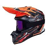 WAHA Casco Motocross, ECE Certificación Casco de Moto para niños Downhill.Cascos de Cross de Moto Set con Gafas/Máscara/Red Elástica/Guantes,B,XL