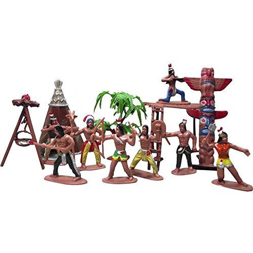 FEZBD 13pcs Vaqueros del Oeste Salvajes Indios Juguete, Figuras de plástico de Juguete, Soldados nativos Americanos Acción Figuras Game Boy Accesorios Juguetes educativos