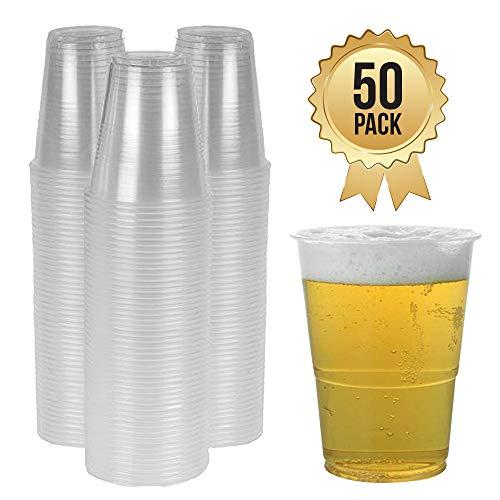 Vasos de Cerveza de Plástico Desechables para Pintas, Pimms y Alcohol en Plástico Transparente y Fuerte Vasos Tazas Transparentes (Pinta Entera) (Paquete de 50)