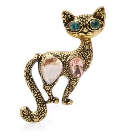 onweerstaanbaar1 Fancy Vintage Goud Slim Green Eyed Kat Emaille Broche Pin met Rose Goud Kristallen