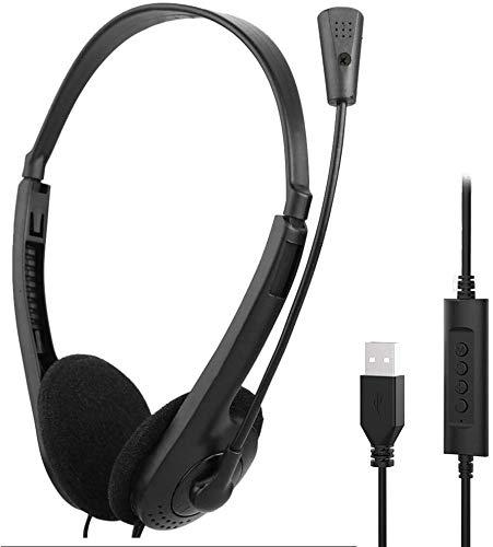 YYG USB PC Headset mit Mic, Lautstärkeregler und Noise Cancelling Mikrofon, Stereo-Sound Laptop kopfhörer für Skype/Call Center/Büro/Telefonkonferenzen/Online-Kurse usw
