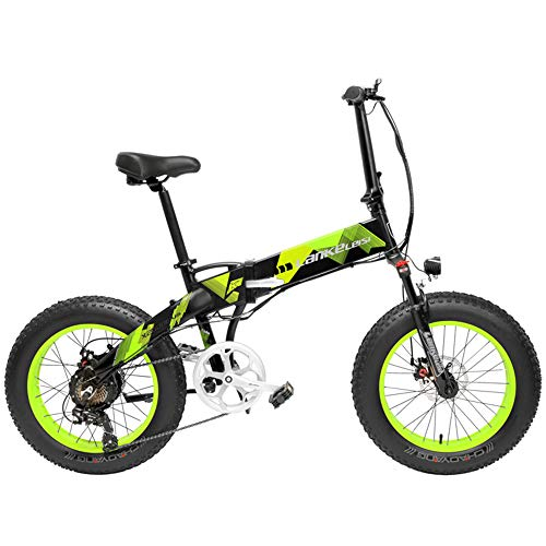 LANKELEISI X2000 20 Pulgadas Bicicleta Grasa Plegable Bicicleta Eléctrica 7 Velocidad Bicicleta de Nieve 48V 12.8Ah 500W Motor 5 Pas Bicicleta de...
