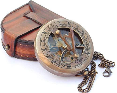 Samara Nautical Messing-Sonnenuhr-Kompass mit Lederetui und Kette, Push-Open-Kompass – Steampunk-Accessoire – Antik-Finish – schönes handgefertigtes Geschenk – Sonnenuhr – schönes Geschenk