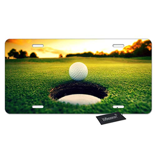 WONDERTIFY License Plate Golf Ball Beside The Hole Sunset Scene Decorative Car Front License Plate,Vanity Tag,Metal Car Plate,Aluminum Novelty License Plate for Men/Women/Boy/Girls Car,6 X 12 Inch