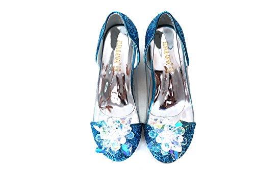ELSA & ANNA® Última Diseño Niñas Princesa Reina de Nieve Partido Zapatos Zapatos de Fiesta Sandalias BLU14-SH (BLU14-SH, Euro 24-Longitud:16.0cm)