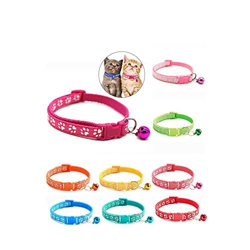 Katzenhalsband mit Sicherheitsverschluss und Glöckchen ( 9-Stück) Verstellbar Halsband Katze Kitten 19–32 cm, geeignet für die meisten Hauskatzen,Kleine Hunde