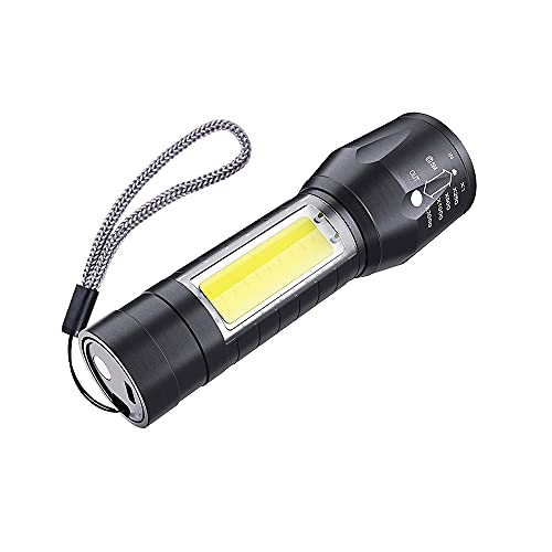CLENER Linterna recargable 2 en 1 aluminio, Negro