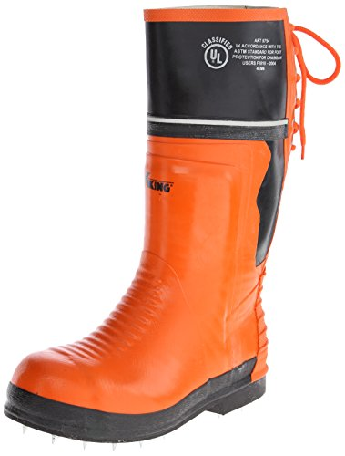 Viking Footwear Class 2 Chainsaw Caulked Boot,Orange/Black,13 M US