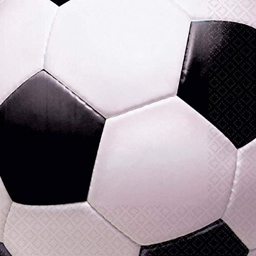 amscan 519709 FBA_95941 Servietten Soccer Fußball, weiß, Einheitsgröße