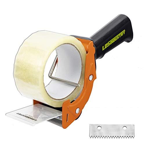 LDS Industry Pistola dispensadora de cinta de reemplazo rápido con rollo de cinta de 48 mm x 55 m (transparente) y hoja adicional, Juego de cortador de cinta para embalaje y sellado de cajas