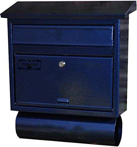 Design Briefkasten, Motiv mit Zeitungsrolle Stahl-Optik, Flachdach mit Katalogeinwurf, BLAU-Dbl-Bbl-Ebl-Zbl-1
