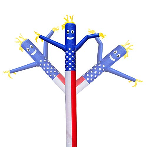 20ft Inflatable Dancer Puppet Arm Flailing Tube Man Wacky Wavy Wind Flying Stand Out Advertising Sky Air No 18in Blower (The American Flag)