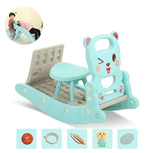 PNFP Kinderschommelende Paard Slide en Shampoo Bed Combinatie Kids Indoor Outdoor Slide Tuin Speelplaats, Geschikt voor 1-6 Jaar Oude Baby