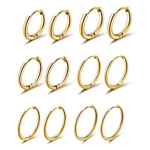 PiercingJak 6 Paare Chirurgenstahl Creolen Ohrringe Set Huggie Hoop Ring Kleine Klappcreolen 6-16mm(Golden)