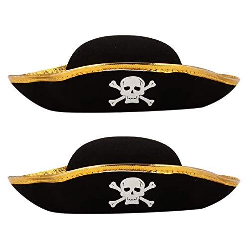 TYX HOME 2Pcs Pirates of The Caribbean Hat, Halloween Decoration Hat with Skull Print Pirate, Captain Hat for Adults And Children, Cosplay Props Party Supplies,Gold,L
