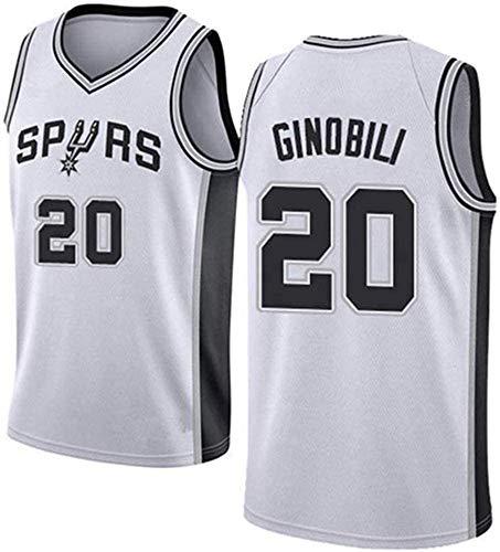 CXJ Hombres Jerseys, San Antonio Spurs # 20 Manu Ginóbili Baloncesto Jersey, Bordado De Malla Ventilador Unisex Sin Mangas Jerseys,A,L(175~180CM/75~85KG)