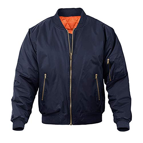 MAGNIVIT Men's Casual Winter Warm Thicken Military Jacket Quilted Puffer Bomber Jacket Navy Blue