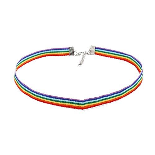 Holibanna Arco Iris Gargantilla Collares del Orgullo Gay Collar de Gargantilla de Cadena Colorida Regalo Homosexual para LGBT Lesbiana (Sin Cuentas)