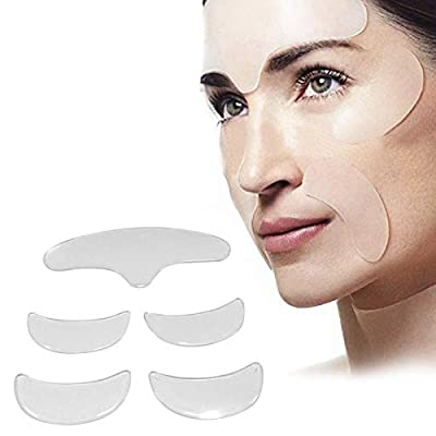 Bulary 5pcs Anti Wrinkle Pad Silicone Eye Face Forehead Stickers Patch Invisible Face Lifting Kit Anti-aging Eliminate Wrinkle Face Pad Wrinkle Remover Strips by