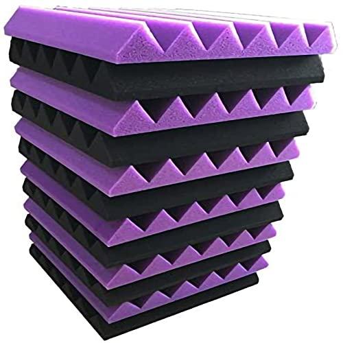 STCK 12 pcs Negro/Púrpura Paneles de Espuma Acústica,30x30x2,5cm Paneles Acústicos,Ignifugo,Alta Densidad Paneles Acústicos para Oficinas,hogar (Color : Black/Purple, Tamaño : 30cm/12in)