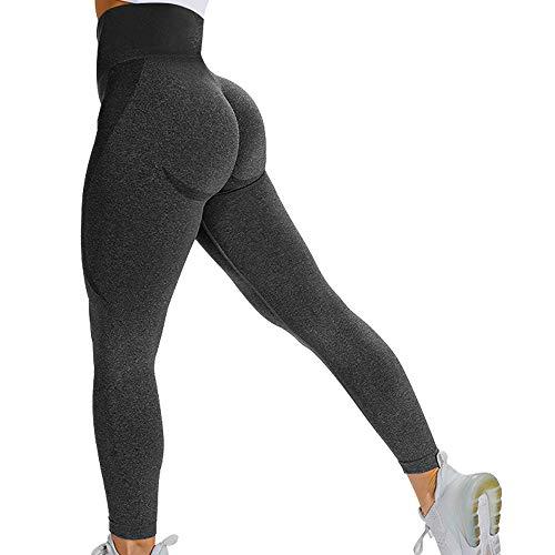 BELONGSCI Scrunch Butt Seamless Workout Leggings Bubble Butt Lift Smile Contour High Waist Yoga Pants for Women Black