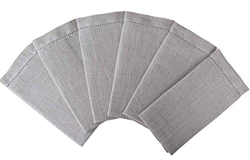 Pure Linen Dinner Napkins 6 Pack 100% Linen Hemstitched Cloth Dinner Napkins Perfect for weddings  Receptions  Dinners  Events  Indoor or Outdoor Parties or Everyday use-18x18 Inch Natural