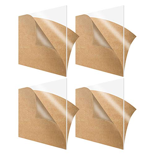 Clear Acrylic Sheet Acrylic Board, Plexiglass Sheets Highly Versatile, Transparent Plastic Plexi Glass Board with Protective Paper for Signs, DIY Display Projects, Craft, Easy to Cut, 4 Pack of 12'