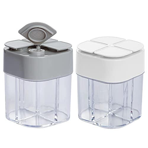 Miayon 2 Pack 4 in 1 Spice Container Salt and Pepper Shaker Transparent Seasoning Shaker Can Filter lumps Spice Jars for Home Restaurant Camping Travel Cooking BBQ