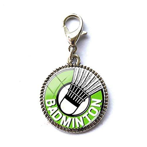 Badminton Schmuck Freundin Geschenk Armband Anhänger Reißverschluss Pull Charm mit Karabinerverschluss Kunst Foto Reißverschluss Pull Schmuck