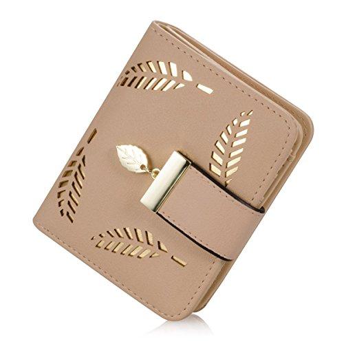 Portemonnaie kurzer Geldbörse Damen IHRKleid® Brieftasche Süß Katze Mädchen Handtasche (Beige)