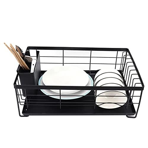 Escurridor de platos, soporte de plato de hierro negro + material de PP para cocina para organizador