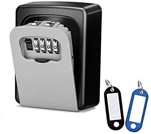 Schlüsseltresor aus Aluminiumlegierung für Aussen, Schlüsselsafe mit 4-stelligem Zahlencode für Schlüssel und Plastikkarten, Wetterfest und Rostfrei