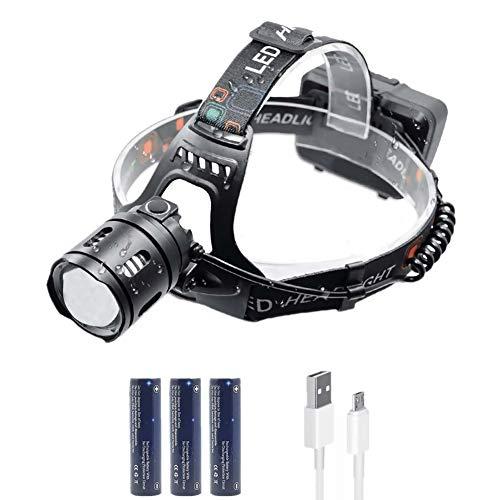 WASAGA Head Torch, Linterna Frontal LED con Zoom de 5000 lúmenes, 3 Modos Recargable, Impermeable, Ajustable, Linterna LED, Linterna, Correr, pasear al Perro, Acampar, Leer