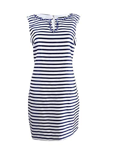 ELLEN TRACY Women's Petite Embellished Striped Sheath Dress (12P, Navy/Ivory)